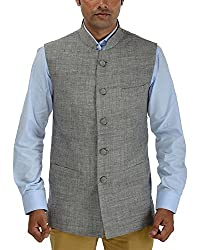 Panache Linen Men's Nehru Jacket (Grey,40)
