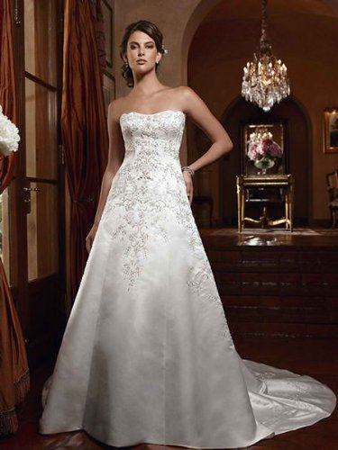 Ivory Satin Wedding Gown with Beaded Lace; Size 16