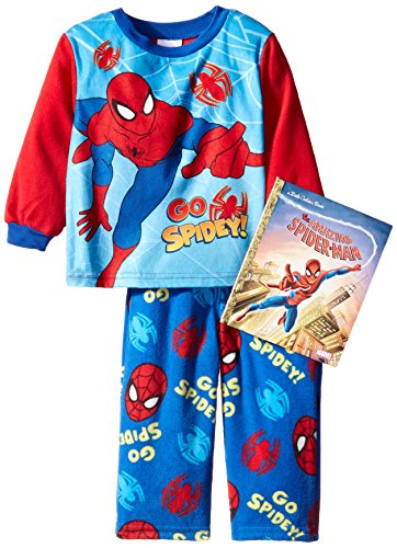 Marvel Little Boys' Go Spidey 2-Piece Pajama Set with Book, Blue, 3T