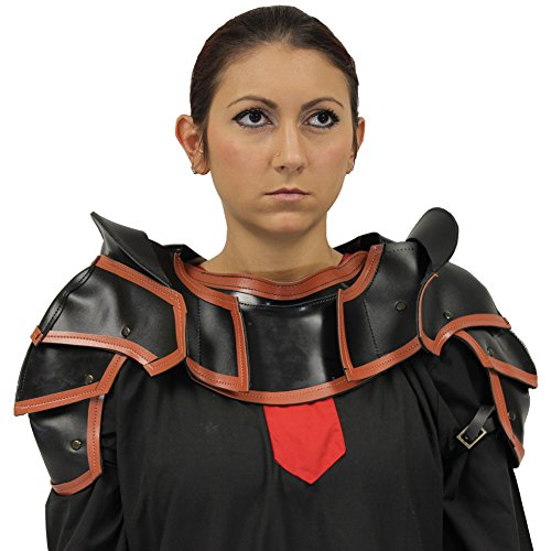 Marauder Medieval Shoulder Armor w Neck Guard - Heavy Duty Synthetic Leather (Sword Shoulder Harness compare prices)