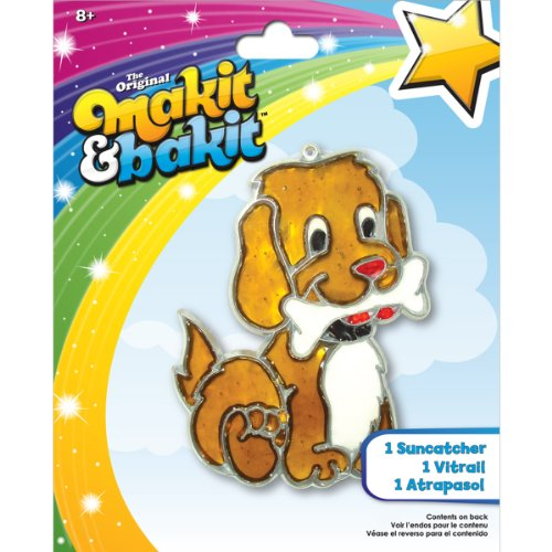 Colorbok Makit & Bakit Suncatcher Kit Stained Glass Puppy Bone