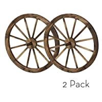 24 in Wooden Wagon Wheels - Steel-rimmed Wooden Wagon Wheels, Set of Two Product SKU: PL50019