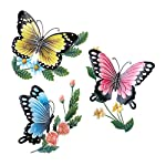 3D Sculpted Colorful Butterflies Metal Wall Art, Hand-Painted, Set of 3, Each 9
