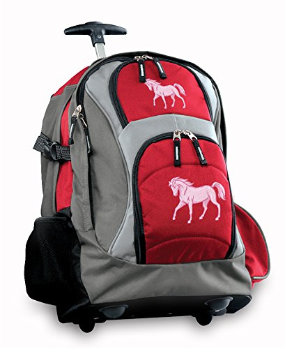 Pink Horse Rolling Backpack Deluxe Red Horses Backpacks Bags With Wheels Or Sch