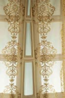 Gold crewel embroidery silk sheer curtain panel rod pocket