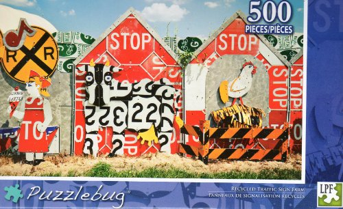 Recycled Traffic Sign Farm - Puzzlebug - 500 Pc Jigsaw Puzzle - NEW - 1