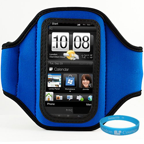 Durable Neoprene Exercise Sports Workout Armband with Adjustable Velcro Strap for Sprint HTC EVO 4G Android Smartphone + SumacLife TM Wisdom Courage Wristband