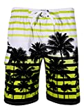 APTRO Men's Colorful Stripe and Coconut Tree Printing Beach Board Shorts