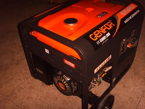 Genfor GF8000CE-W 7,000-watt Gasoline Powered Portable Generator with Electric Starter, 10″ wheels & handles