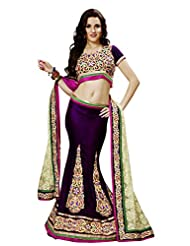 Prafful Purple Net Wedding Unstitched Lehnga choli