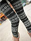 Women Snow Snowflake Pattern Ankle Length Footless Pantyhose Legging Tight Pant