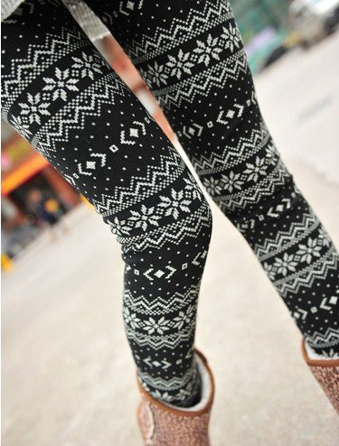 Why Should You Buy ECOSCO Women NEW Snow Snowflake Pattern Ankle Length Footless Pantyhose Legging Tight Pant One Size Black+White