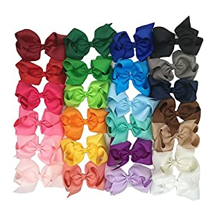 XIMA 25pcs 6 inch big ribbon bows,Girls' hair accessories hair bow (With French clip)