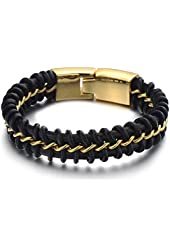 Exquisite Mens Black Braided Leather Bracelet Interwoven with Gold Curb Chain in Stainless Steel
