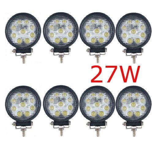 Miracle 8 X Lampe LED 27W projecteur spot idéal pour véhicule tout-terrain, chantier, phare bateau, auto 12V 24V