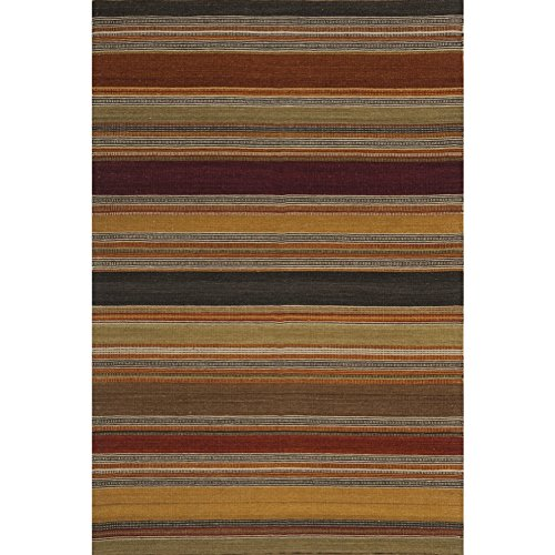 Safavieh Striped Kilim Collection STK315A Hand Woven Gold Wool Area Rug, 3 feet by 5 feet (3' x 5')