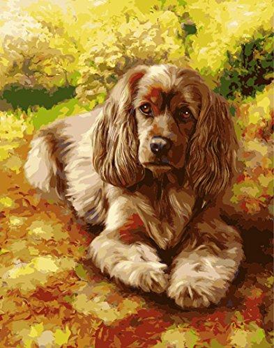 Wooden Framed No Blending / No Mixing Linen Canvas - Happy Dog