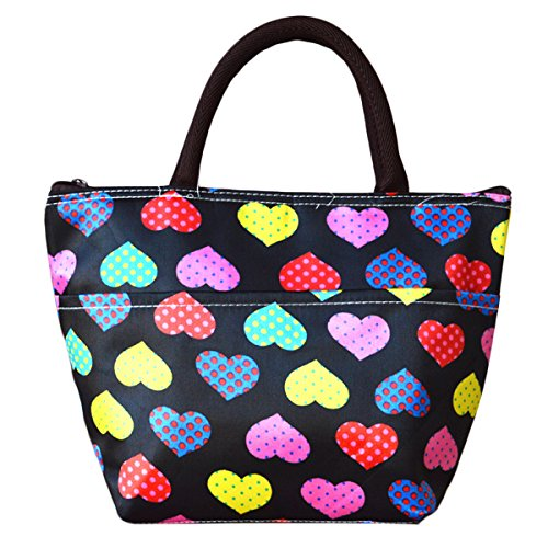 Sealike Cute Colorful Polka Dot Love Heart Picnic Lunch Bag Tote Bag Handbag Lunch Organizer for Women Girls with Stylus Black - 1