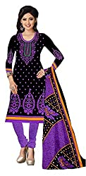 Fashion Storey Fancy Black and Purple Crepe Dress Material