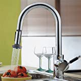 LightInTheBox Single Handle Centerset Pull Out Kitchen Sink Faucet with Versatile and Swivel Sprayhead, Chrome