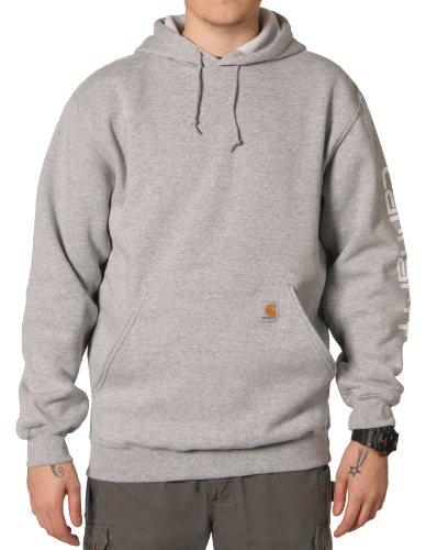Carhartt K288 Sleeve Logo Sweatshirt Grey Mens Hoodie Top