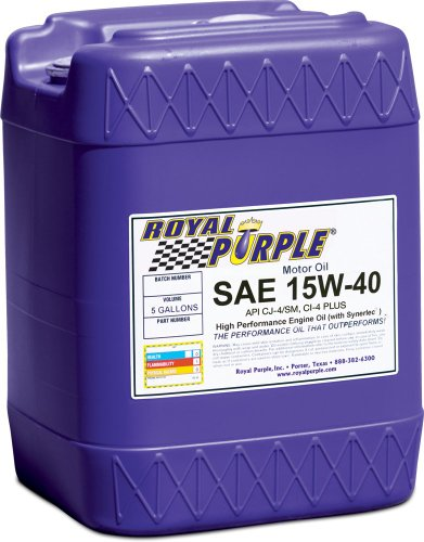 Royal Purple 05154 API-Licensed SAE 15W-40 High Performance Synthetic Motor Oil - 5 gal. (Mobil 15w40 Diesel Oil compare prices)