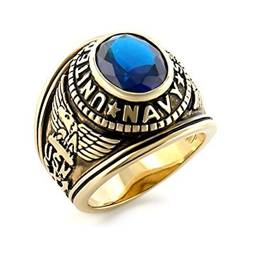 US Navy Ring - (Gold Plated w/ Blue Stone) USN Military Rings Jewelry - Officers Military gear or U.S. Navy Seals Uniform Veteran Ring with flag decal emblem design (11)
