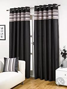 Striped Chenille Silk Curtains Luxury Eyelet Ring Top Ready Made Lined Curtain Black Cream