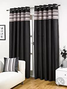 Striped chenille silk curtains luxury for Living room curtains 90x90