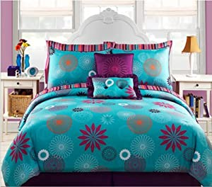 Blue & Purple Teen Girls Full Size Comforter Set (10 Piece Bed In A Bag)