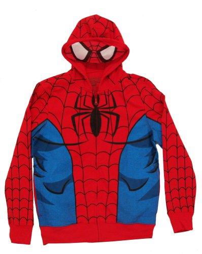 Spiderman Mask Costume Full Zip Hoodie (Small, Red)