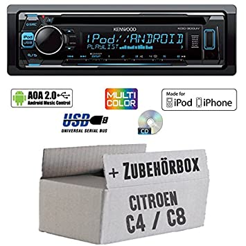 Citroen C4 C8 - Kenwood KDC-300UV - CD/MP3/USB VarioColor Autoradio - Einbauset