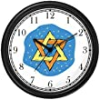 Star of David or Mogen David No.1 Judaica Jewish Theme Wall Clock by WatchBuddy Timepieces (Slate Blue Frame)