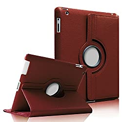 Fintie 360 Degree Rotating Stand Smart Cover PU Leather Case for Apple iPad 4th Generation Retina Display / the new iPad 3 / iPad 2 (Wake/sleep Function) - Brown
