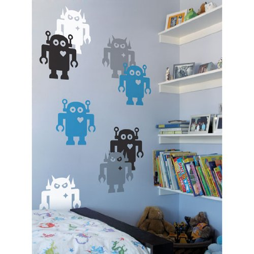 Giant Robots Wall Stickers in Sky Blue and Silver