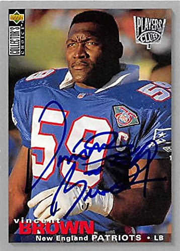 Vincent Brown Autographed/Hand Signed Football Card (New England Patriots) 1995 Upper Deck Players C