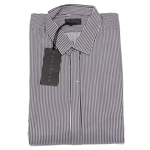 1698 camicia uomo JOHN RICHMOND bianco nero shirt men long sleeve [54]