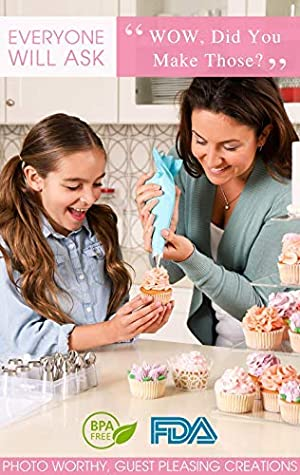 Giftable Russian Piping Tips Set – 69PC Instant Flower Cupcake & Cake Decorating Supplies Kit, 3 Types of Frosting Icing Nozzles, Video Tutorials for beginners, Pastry Bags, Storage + Bakers Gift Box (Color: White, Tamaño: Blooms'nBlossoms 69 PC Gift Set)