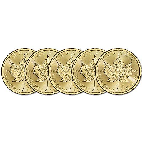 (5) 2016 Canada Gold Maple Leaf 1 oz