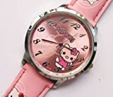 Cute Hello Kitty Round Shaped Wrist Watch with Faux Leather Band – Pink
