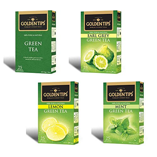 Green Tea Bags Collection (Green, Earl Grey,Lemon, Mint) Assortment Collection, Tea Bags, 25 Count Boxes. (Pack Of 12)