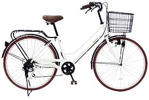 CHACLE(チャクル) 空気入れ不要! ノーパンク自転車 軽快車 26インチ [外装6段変速、ブラウンパーツ装備] ホワイト FN-CC266W-SP