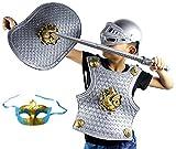 Madrugada 伝説の騎士 フル装備 5点セット (ソード+シールド+アーマー+ヘルム+ベネチアンマスク) 子供用 ハロウィン クリスマスなどの仮装にも S239 (ナイト)