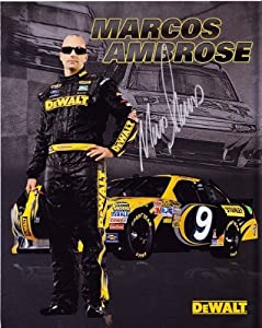 Buy AUTOGRAPHED 2012 Marcos Ambrose #9 Stanley Dewalt Racing 8X10 Promo Hero Card by Trackside Autographs