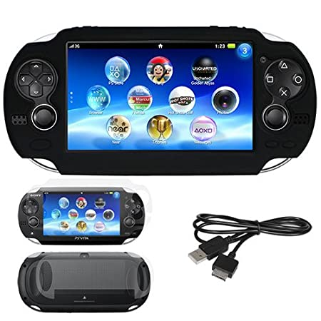 Sony PS vita Playstation Combo, Skque Black Soft Silicone Gel Case + Front & ...