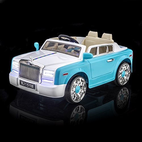 SPORTrax Rolls Royce Phantom Style Luxury Kid's Ride On Car, Battery Powered, Remote Control, w/FREE MP3 Player - Blue (Rolls Royce For Kids compare prices)