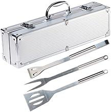 Comprar Ultranatura 200100000075 - Utensilios de acero inoxidable para barbacoa, 3 piezas, en maletín de aluminio