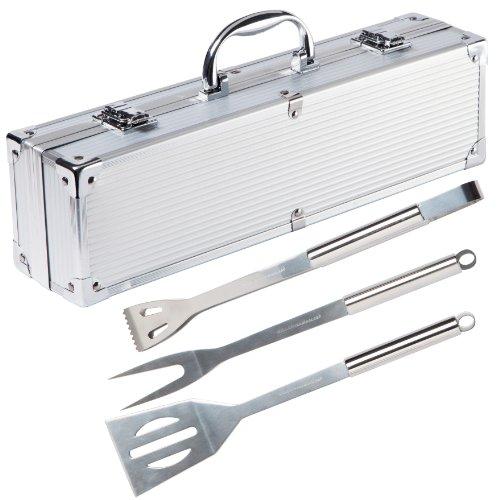 Ultranatura Set de 3 couverts à barbecue en acier inoxydable dans sa valise en alu