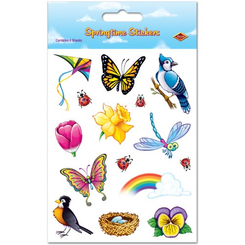 Springtime Stickers 4 Sheets Per Pack - 1
