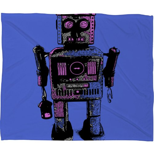 Deny Designs Romi Vega Lantern Robot Fleece Throw Blanket, 60-Inch By 50-Inch front-958623